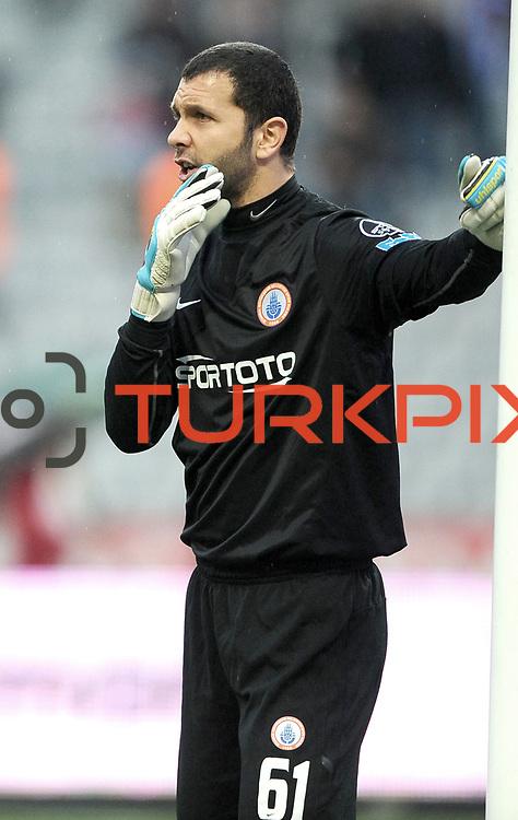 IBBSpor's goalkeeper Oguzhan Bahadir during their Turkish soccer superleague match IBBSpor between Trabzonspor at the Ataturk Olympic stadium in Istanbul Turkey on Saturday 07 January 2012. Photo by TURKPIX