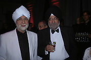 Ranbir Suri and Inder Uppas. The Black and White Winter Ball. Old Billingsgate. London. 8 February 2006. -DO NOT ARCHIVE-© Copyright Photograph by Dafydd Jones 66 Stockwell Park Rd. London SW9 0DA Tel 020 7733 0108 www.dafjones.com