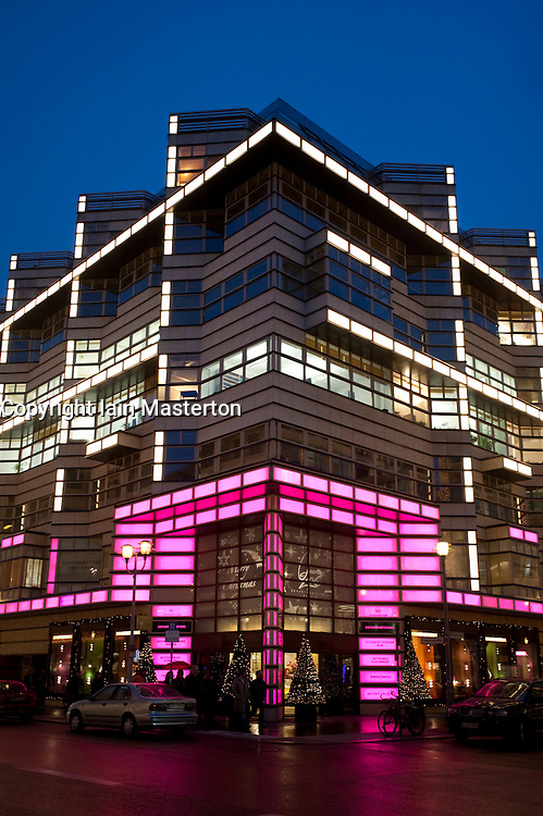 Evening view of exterior of Quartier 206 upmarket shopping mall on Friedrichstrasse in Mitte Berlin 2009