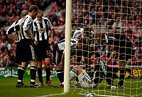 Photo: Jed Wee.<br /> Middlesbrough v Newcastle United. The Barclays Premiership. 22/10/2006.<br /> <br /> Attention is paid to Newcastle goalkeeper Steve Harper after he goes down in the penalty area.