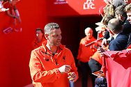 Stephane Henchoz of Liverpool legends team signs autographs prior to kick off. Liverpool Legends  v Real Madrid Legends, Charity match for the LFC Foundation at the Anfield stadium in Liverpool, Merseyside on Saturday 25th March 2017.<br /> pic by Chris Stading, Andrew Orchard sports photography.