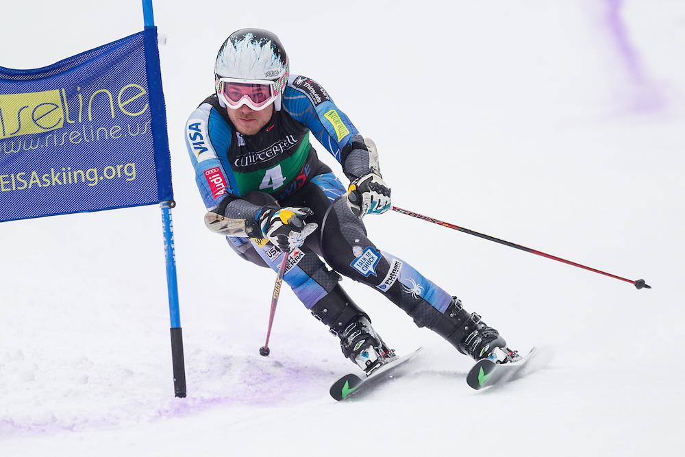 Sean Higgins, skis during the second run of the men's giant slalom at Jiminy Peak on February 15, 2014 in Hancock, MA. (Dustin Satloff/EISA)