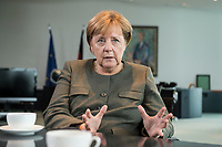 13 SEP 2017, BERLIN/GERMANY:<br /> Angela Merkel, CDU, Bundeskanzlerin, waehrend einem Interview, in Ihrem Buero, Bundeskanzlerin<br /> IMAGE: 20170917-01-009<br /> KEYWORDS: Büro