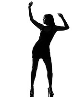 stylish silhouette caucasian beautiful woman dancer dancing full length on studio isolated white background