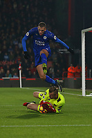 Football - 2016 / 2017 Premier League - AFC Bournemouth vs. Leicester City<br /> <br /> Islam Slimani of Leicester City jumps over Bournemouth goal keeper Artur Boruc as he gathers a loose ball at Dean Court (The Vitality Stadium) Bournemouth<br /> <br /> COLORSPORT/SHAUN BOGGUST