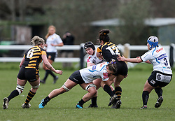 Rachel Johnson of Exeter Chiefs tackles Kate Alder of Wasps - Mandatory by-line: Arron Gent/JMP - 06/03/2021 - RUGBY - Twyford Avenue - Acton, England - Wasps FC Ladies v Exeter Chiefs Women - Allianz Premier 15s