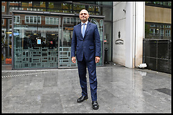 May 27, 2019 - London, London, United Kingdom - Sajid Javid MP Joins Tory Leadership Race - File Picture...Sajid Javid MP, current Home Secretary announces his intention to run in the leadership race to become the next leader of the Conservative Party and Prime Minister of the UK...File Picture from 30/04/2018: Sajid Javid MP, Home Secretary steps outside the Home Office on his first day of his new role. He replaced Amber Rudd MP who resigned over the Windrush scandal. (Credit Image: © Pete Maclaine/i-Images via ZUMA Press)