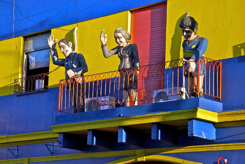 Balcony with emblematic argentinean symbols, Peron, Evita & Maradona, on a balcony in Barrio de la Boca, Buenos Aires, Argeninta.