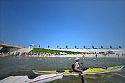 Nederland, Nijmegen, 5-6-2016Zwemwedstrijd voor autisten in de Spiegelwaal, de nieuwe nevengeul van de Waal. De wedstrijd  bestaat uit 400 meter zwemmen in het open water en wordt georganiseerd in het kader van de Wereld Autisme Dag. Foto: Flip Franssen