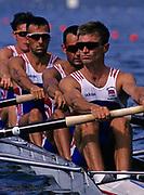 Atlanta, USA. GBR LM4-  Ben HELM,  Tom KAY,  Dave LEMON,  Jim McNIVEN, 1996 Olympic Rowing Regatta Lake Lanier, Georgia [Mandatory Credit Peter Spurrier/ Intersport Images]