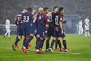 Yuri Berchiche (PSG) scored a goal against Remy VERCOUTRE (SM Caen) and celebrated it with Javier Matias Pastore (psg), Thiago Silva (PSG), Kylian Mbappe (PSG), Thomas Meunier (PSG), Neymar da Silva Santos Junior - Neymar Jr (PSG), Giovani Lo Celso (PSG) during the French Championship Ligue 1 football match between Paris Saint-Germain and SM Caen on December 20, 2017 at Parc des Princes stadium in Paris, France - Photo Stephane Allaman / ProSportsImages / DPPI