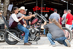 Danelle and Stacy McCleary on Chris Callen's Something Wicked custom Shovelhead at Warren Lane's True Grit Antique Gathering bike show at the Broken Spoke Saloon in Ormond Beach during Daytona Beach Bike Week, FL. USA. Sunday, March 10, 2019. Photography ©2019 Michael Lichter.