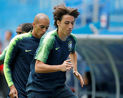 June 21, 2018 - Saint Petersburg, Russia - Pedro Geromel (C) during a Brazil national team training session during the FIFA World Cup 2018 on June 21, 2018 at Saint Petersburg Stadium in Saint Petersburg, Russia. (Credit Image: © Mike Kireev/NurPhoto via ZUMA Press)
