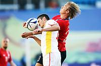 Fotball , 11. juni 2013 , Privatkamp , Norge - Makedonia<br /> Norway - FYR Macedonia 2-0<br /> <br /> Alexander Søderlund ,  Norge<br /> Daniel Mojsov , Makedonia