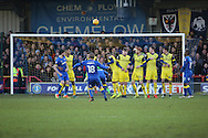 AFC Wimbledon midfielder Dean Parrett (18) with a free kick during the EFL Sky Bet League 1 match between AFC Wimbledon and Oxford United at the Cherry Red Records Stadium, Kingston, England on 14 January 2017. Photo by Matthew Redman.