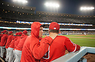 The Angels' Mike Trout talks with Gary Disarcina during their Freeway Series game Friday night at Dodger Stadium.<br /> <br /> <br /> ///ADDITIONAL INFO:   <br /> <br /> freeway.0402.kjs  ---  Photo by KEVIN SULLIVAN / Orange County Register  --  4/1/16<br /> <br /> The Los Angeles Angels take on the Los Angeles Dodgers at Dodger Stadium during the Freeway Series Friday.<br /> <br /> <br />  4/1/16