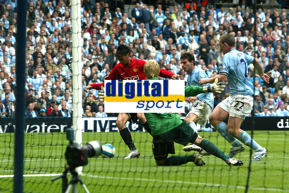 Photo: Paul Greenwood.<br />Manchester City v Manchester United. The FA Barclays Premiership. 19/08/2007.<br />Man Utd's Chris Eagles sees his shot saved by Kasper Schmeichel who smoothers the ball in a shape reminiscent of his father