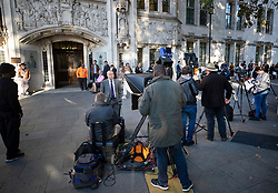 © Licensed to London News Pictures. 17/09/2019. London, UK. Television news crews and journalists gather outside The Supreme Court. Today the court will start hearing appeals against Scottish and English courts decisions on the government's proroguing of Parliament. Photo credit: Peter Macdiarmid/LNP