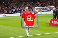 Sergio Ramos of Spain celebrates his 150th caps before the International friendly game football match between Spain and Argentina on march 27, 2018 at Wanda Metropolitano Stadium in Madrid, Spain - Photo Rudy / Spain ProSportsImages / DPPI / ProSportsImages / DPPI