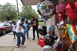 August 16, 2018 - Detroit, Michigan, U.S. - People dance to music while stopping by New Bethel Baptist Church in Detroit while visiting the church where Aretha Franklin grew up attending in Detroit on Thursday, following her passing. (Credit Image: © Detroit Free Press via ZUMA Wire)