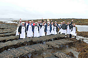 """08/09/2013 Singing to the Oysters<br /> <br /> To help wake the Native Oysters from their beds """"The Brook Singers"""", a male voice choir from Dublin, accompanied by Peter Caviston of Caviston's Food Emporium in Glasthule called to Kelly Oysters in inner Galway Bay.<br /> September is a busy month for the Native Oysters which have just come back into season.<br /> The singers will help the oysters prepare for the upcoming Galway international Oyster Festival at the end of the Month . As well as supplying the Oyster Festivals, Kelly Oysters supply oysters throughout Ireland and around the world.<br /> Last season these much sought after delicacies were exported to 14 different countries.   Photo: Andrew Downes"""