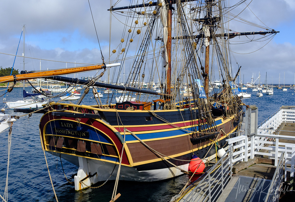 Details of a tall ship docked at fisherman's wharf in Monterey, California
