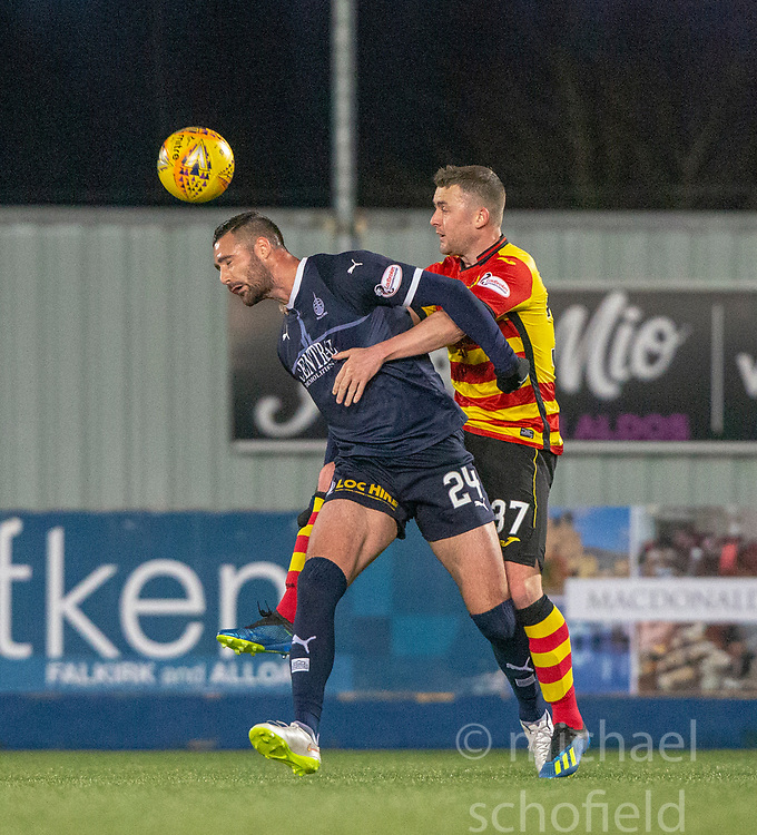 Falkirk's Marcus Haber and Partick Thistle's Tam Scobbie. Falkirk 1 v 1 Partick Thistle, Scottish Championship game played 17/11/2018 at The Falkirk Stadium.