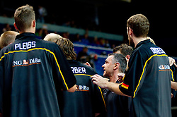 Dirk Bauermann, head coach of Germany with his players during basketball game between National basketball teams of Lithuania and Germany at FIBA Europe Eurobasket Lithuania 2011, on September 11, 2011, in Siemens Arena,  Vilnius, Lithuania. (Photo by Vid Ponikvar / Sportida)