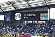 KANSAS CITY, KS - AUGUST 25: A video screen reminds fans that no cash is accepted as part of COVID-19 safety precautions during an MLS match between the Houston Dynamo and Sporting Kansas City on August 25, 2020 at Children's Mercy Park in Kansas City, KS.  (Photo by Scott Winters/Icon Sportswire)