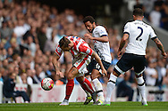 Mousa Dembele of Tottenham Hotspur intercepts Marko Arnautovic of Stoke City. Barclays Premier league match, Tottenham Hotspur v Stoke city at White Hart Lane in London on Saturday 15th August 2015.<br /> pic by John Patrick Fletcher, Andrew Orchard sports photography.