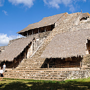 The Acropolis at the ancient Mayan ruins at Ek' Balam, near Valladolid, Yucatan, Mexico. The Acropolis is the largest structure at the site and incorporates the temple and royal palace. One can climb to the top up the 106 stone steps.