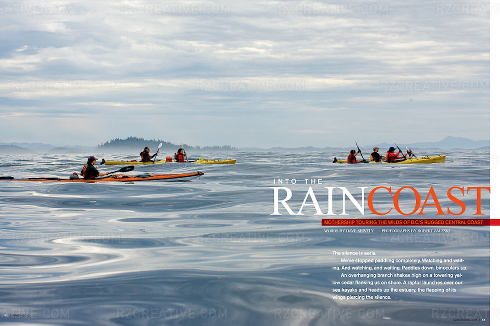 Editorial feature on kayaking in British Columbia's Great Bear Rainforest.