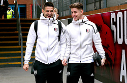 Fulham's Aleksandar Mitrovic (left) and Tom Cairney arrive at the stadium prior to the Premier League match at Selhurst Park, London.