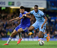 Manchester City's Tosin Adarabioyo holds off the challenge from Chelsea's Dominic Solanke<br /> <br /> Photographer Ashley Western/CameraSport<br /> <br /> Football - The FA Youth Cup Second Leg - Chelsea U18's v Manchester City U18's - Monday 27th April 2015 - Stamford Bridge - London<br /> <br /> © CameraSport - 43 Linden Ave. Countesthorpe. Leicester. England. LE8 5PG - Tel: +44 (0) 116 277 4147 - admin@camerasport.com - www.camerasport.com