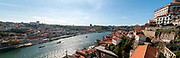 Porto cityscape and Douro river as seen from the top of Dom Luis I Bridge, Porto, Portugal