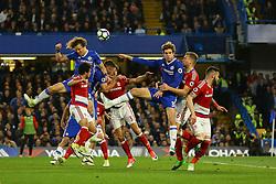 David Luiz of Chelsea heads the ball wide of goal - Mandatory by-line: Jason Brown/JMP - 08/05/17 - FOOTBALL - Stamford Bridge - London, England - Chelsea v Middlesbrough - Premier League