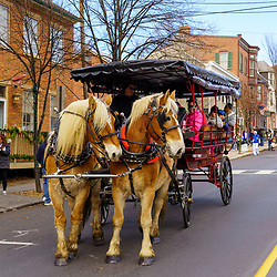 Gettysburg, PA / USA - December 7, 2019:  A horse-drawn wagon transports attendees at the annual Christmas Festival in the downtown area.