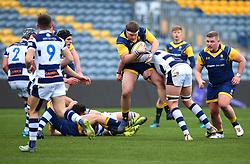 Max Baggs (Cheltenham College) of Worcester Warriors Under 18s is tackled - Mandatory by-line: Robbie Stephenson/JMP - 14/01/2018 - RUGBY - Sixways Stadium - Worcester, England - Worcester Warriors Under 18s v Yorkshire Carnegie Under 18s - Premiership Rugby U18 Academy