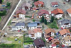 09.06.2015, See im Paznaun, AUT, Aufräumarbeiten nach Vermurungen. Millionenschaden nach Unwetter in der Nacht auf Montag in den Tiroler Bezirken Landeck und Innsbruck. Im Sellrain- und Paznauntal wurden Dutzende Häuser teilweise zerstört. Tausende Helfer sind im Einsatz. im Bild Luftaufnahme, Luftbild von den zerstörten Gebieten in der Gemeinde See im Paznaun // Aerial view of the devastated areas in the village of village See during Cleanups at Tyrolean Paznaun, Million damage after storms at night on Monday in the Tyrolean districts Landeck and Innsbruck. In Sellrain- and Paznauntal dozens of houses were partially destroyed. Thousands helpers are on duty, Austria on 2015/06/09. EXPA Pictures © 2015, PhotoCredit: EXPA/ Johann Groder
