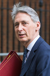 Downing Street, London, October 18th 2016. Chancellor of the Exchequer Philip Hammond leaves 10 Downing Street in London following the weekly cabinet meeting.