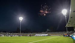 Fyrværkeri undenfor stadion under kampen i 1. Division mellem FC Helsingør og Vendsyssel FF den 18. september 2020 på Helsingør Stadion (Foto: Claus Birch).