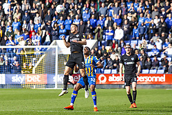 March 23, 2019 - Meadow, Shropshire, United Kingdom - Lee Brown of Portsmouth FC heads the ball clear  during the Sky Bet League 1 match between Shrewsbury Town and Portsmouth at Greenhous Meadow, Shrewsbury on Saturday 23rd March 2019. (Credit Image: © Mi News/NurPhoto via ZUMA Press)