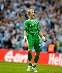 14.05.2011, Wemblay Stadium, ENG, FA CUP FINALE, Manchester City vs Stoke City im Bild Manchester City keeper Joe Hart celebrates Yaya Toure's goal. CityManchester City v Stoke City,. FA Cup Final,.Wembley Stadium. London. UK. .14/05/11, EXPA Pictures © 2011, PhotoCredit: EXPA/ IPS/ S. Ryan *** ATTENTION *** UK AND FRANCE OUT!