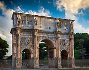 The Arch of Constantine (Italian: Arco di Costantino) is a triumphal arch in Rome, situated between the Colosseum and the Palatine Hill. It was erected to commemorate Constantine I's victory over Maxentius at the Battle of Milvian Bridge on October 28, 312. Dedicated in 315, it is the latest of the existing triumphal arches in Rome, from which it differs by spolia, the extensive re-use of parts of earlier buildings.