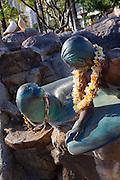 Surfer and monk seal statue, Waikiki, Oahu, Honolulu, Hawaii