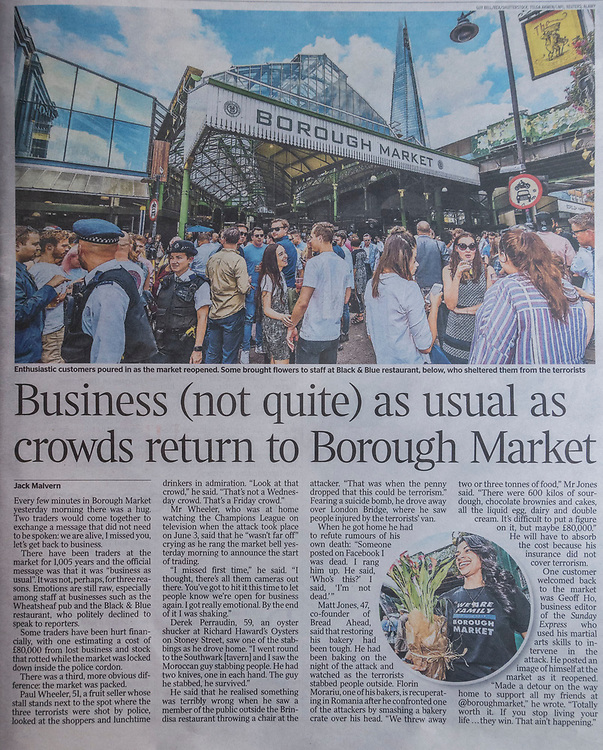 The market reopening is signified by the ringing of the bell and is attended by Mayor Sadiq Khan. Tourists and locals soon flood back to bring the area back to life.