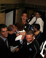 Wycombe Wanderers/Notts County Coca Cola League Two 02.05.09 <br /> Photo: Tim Parker Fotosports International<br /> Wycombe Wanderers players celebrate promotion to Coca Cola League One after watching final score from Bury game in the players tunnel