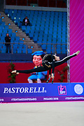 Hudis Veronika during the qualification of the clubs at the Pesaro World Cup 2018.<br /> She is an Azerbaijani gymnast from the Ukraine origin born in 2002.