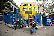 Cypress Park Community Job Center.<br /> Day laborers waiting for jobs.