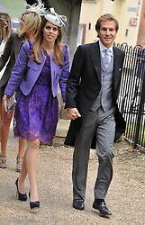 The Wedding of Sam Waley-Cohen to Miss Annabel (Bella) Ballin at St Michael & All Angels Church, Lambourn, Berkshire on 11th June 2011.<br /> Picture Shows:-PRINCESS BEATRICE OF YORK and DAVE CLARK